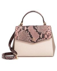 Tory Burch - Robinson Snake Embossed Small Leather Satchel - Lyst