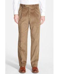 Berle - Pleated Corduroy Trousers - Lyst