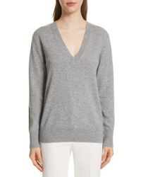 Theory - Button Sleeve Cashmere Sweater - Lyst