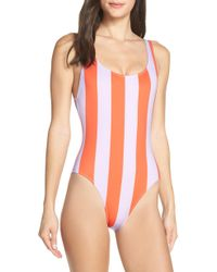 c0f28f1cfa Solid   Striped - Anne Marie Open Back One-piece Swimsuit - Lyst