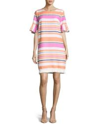 Eci - Stripe Ruffle Cuff Shift Dress - Lyst