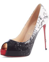 0b54388c8aab Lyst - Christian Louboutin New Very Prive Ombre Peep-toe Red Sole ...