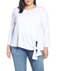 6371728f97e8f Lyst - Caslon Caslon Side Tie Cotton Tunic Top in Gray