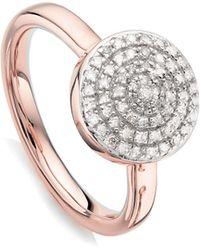 Monica Vinader - Fiji Large Diamond Button Stack Ring - Lyst