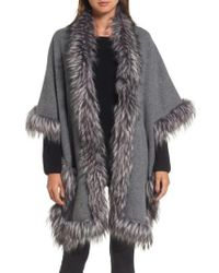 Love Token - Knit Poncho With Faux Fur Trim - Lyst