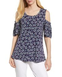 Chaus - Cold Shoulder Radiant Springs Print Top - Lyst