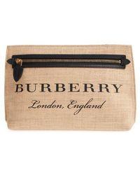 Burberry - Logo Print Jute Clutch - Lyst