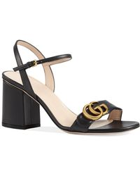 0bbb47e1404 Lyst - Gucci Gg Marmont Block Heel Sandal in White