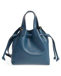 Madewell - The Mini Pocket Transport Leather Drawstring Tote - Lyst