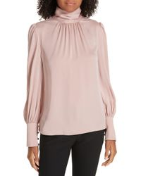 MILLY - Annabel Back Cutout Silk Blend Blouse - Lyst