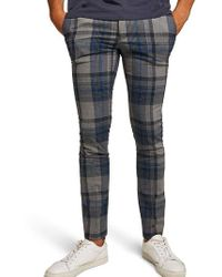 TOPMAN - Ultra Skinny Fit Check Pants - Lyst