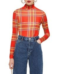 TOPSHOP - Check Slinky Funnel Neck Top - Lyst