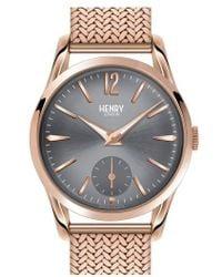 Henry London | 'finchley' Round Mesh Strap Watch | Lyst