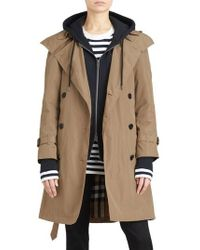 Burberry - Amberford Taffeta Trench Coat With Detachable Hood - Lyst