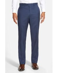 JB Britches - 'torino' Flat Front Wool Trousers - Lyst