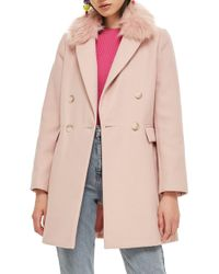 TOPSHOP - Faux Fur Collar Coat - Lyst