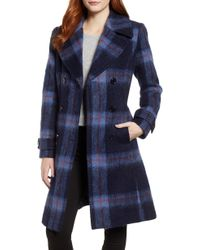 Kenneth Cole - Brushed Plaid A-line Coat - Lyst