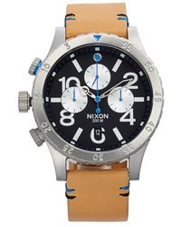 Nixon - 'the 48-20' Chronograph Leather Strap Watch - Lyst