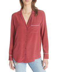 Equipment - Keira Piped Silk Shirt - Lyst