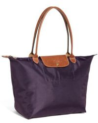 Longchamp - 'large Le Pliage' Nylon Tote - Purple - Lyst