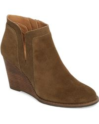 0ccff13811df Lucky Brand  yakeena  Zip Wedge Bootie in Brown - Lyst