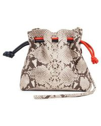 Clare V. - Henri Supreme Snakeskin Embossed Leather Bucket Bag - Lyst