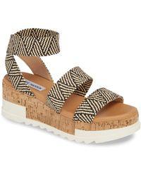 Steve Madden - Bandi Elastic & Cork Flatform Sandals - Lyst