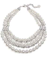 Ben-Amun - Crystal & Imitation Pearl Multistrand Torsade Necklace - Lyst
