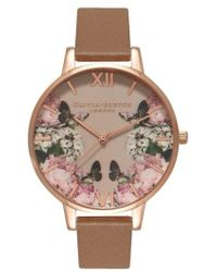 Olivia Burton - Enchanted Garden Leather Strap Watch - Lyst