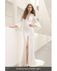 ROSA CLARA COUTURE - Pradera Plunge Bell Sleeve Crepe Gown - Lyst