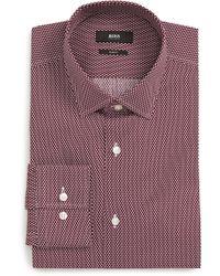 BOSS - Jenno Slim Fit Geometric Dress Shirt - Lyst