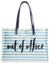Kate Spade - California Dreaming - Out Of Office Canvas Tote - Purple - Lyst