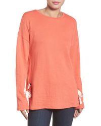 Caslon | Caslon Lace-up Side Sweatshirt | Lyst