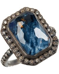 Armenta - Old World Midnight Emerald-cut Quartz & Diamond Ring - Lyst