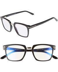 3b7879f23d3 Lyst - Tom Ford 51mm Round Acetate   Metal Optical Glasses in Black