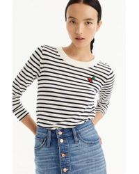 J.Crew | J.crew Stripe Tippi Wool Sweater With Cherry Patch | Lyst