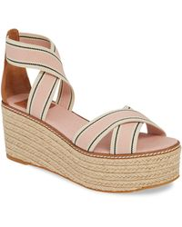 e45c5c1b1a5dc7 Lyst - Tory Burch Open Toe Platform Wedge Sandals - Lexington in Natural
