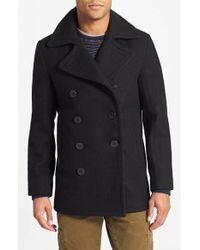 Schott nyc Wool Raglan Car Coat in Gray for Men | Lyst