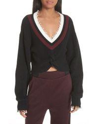T By Alexander Wang - Twist Front Varsity Sweater - Lyst