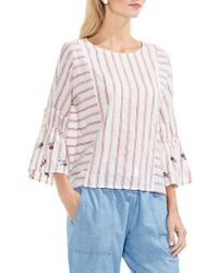 Vince Camuto | Ruffle Bell Sleeve Stripe Embroidered Blouse | Lyst