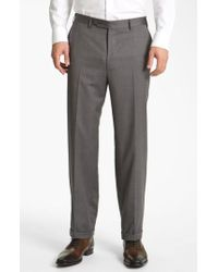 Canali | Flat Front Wool Trousers | Lyst