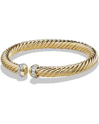 David Yurman - 'cable Classics' Cable Spira Bracelet With Diamonds In 18k Gold - Lyst