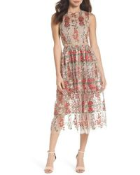 Bronx and Banco - Poppy Embroidered Tulle Tea Length Dress - Lyst