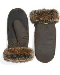 Barbour - Waxed Cotton Mittens With Faux Fur Trim - Lyst