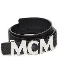 MCM - Letter Reversible Coated Canvas/leather Belt - Lyst