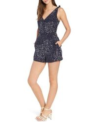 Cupcakes And Cashmere - Althea Polka Dot Print Romper - Lyst
