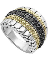 Lagos - 18k Yellow Gold & Sterling Silver Diamond Lux Black Diamond Ring - Lyst