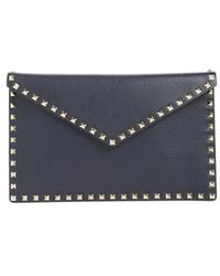 Valentino - Large Rockstud Leather Pouch - - Lyst