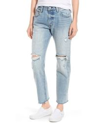 Levi's - Levi's 501 Ripped High Waist Crop Jeans - Lyst