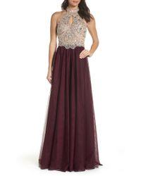 f6820cfd3a1 Lyst - Blondie Nites Beaded Yoke Side Ruffle Long Dress in Purple